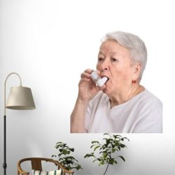 Wallmonkeys Senior Woman With Asthma Inhaler Peel and Stick Wall Decal Funny Review